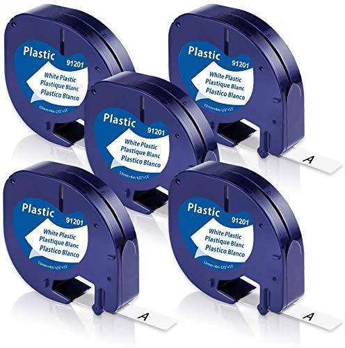 Unistar – Cinta de Etiquetas compatible para usar en lugar de Dymo Cintas LetraTag Plastico 12mm x 4m, Recambios Dymo 91201 S0721610 negro sobre blanco para Dymo LetraTag LT-100h LT-100T LT-110T XR