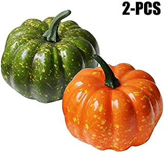 Artificial Plants - 2pcs Artificial Pumpkins Ative Bright Color Fake Vegetables Simulation - Tree Realistic Reptile Decor Containers Stems Cabinets Grass Nearly Ferns Yellow Marble Topiary Colo
