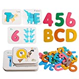 JCREN Alphabet and Numbers Flash Cards Wooden ABC Letters Animal Matching Puzzle Colors Sorting Game Montessori Toys for Age 3 4 5 Years Old Toddlers Learning Educational Activities