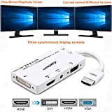 CABLEDECONN HDMI to VGA DVI HDMI Multiport 4-in-1 Converter Adapter Cable with Audio 3.5mm Micro USB for HDMI Laptops Computers etc Connecting Simultaneously-White