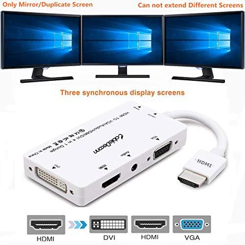 CableDeconn Konverter/Adapter, HDMI auf VGA/DVI/HDMI / 3,5-mm-Audio, Stromversorgung per Micro-USB, gleichzeitiger Anschluss von Mehreren Ausgabegeräten