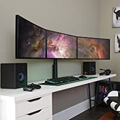 Enhance your PC setup & save desk space by desk mounting your 3 monitors. Top-notch build quality & clamp design for a pro look. Adjust each monitor to the perfect position with butter-smooth 360º movement. Switch from horizontal to vertical orientat...