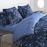 Cacharel – Funda nórdica 100% satén de algodón + 2 fundas – Reversible y fácil de planchar (Aurore Azul, 260 x 240 cm)