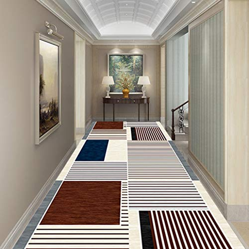 Auart Extra Long Runner Rug, Chic Textured Geometric Trellis Pattern Distressed Non Slip Rugs Runners Anti Bacterial, Colourfast, Resilient (Color : B, Size : 100×100cm)