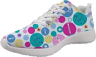 Coloranimal Unisexe Femmes Hommes Chaussures de Course de Route Baskets Air Mesh Léger Lacets Chaussures de Sport