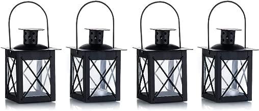 Vintage Black Metal Mini Decorative Candle Lanterns Tealight Candle Holder & Led Tea Light Candleholder Decoration for Birthday Parties Wedding Centerpiece Relaxing Spa Setting 4 Pcs Black