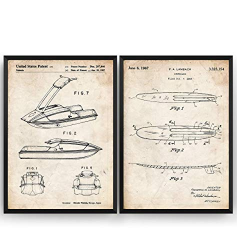 Surfboard And Jet Ski Watersports Set Of 2 Patent Posters - Surfer Beach House Nautical Giclee Print Art Kunst Wall Dekor Decor Entwurf Wandkunst Blueprint Geschenk Gift - Frame Not Included