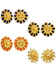 Nakabh Combo of 4 Gold Plated Moti Stud Tops Earrings for Women (Pack of 4 Pairs)