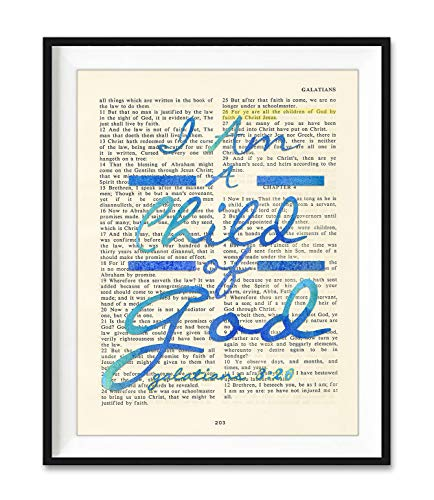 I Am A Child of God, Galatians 3:26, Blue Christian Art Print, Unframed, Vintage Bible Verse Scripture Wall Decor Poster, Inspirational Gift, 8x10 Inches