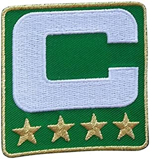 Green Captain C Patch (4 Gold Stars) Iron On for Jersey Football, Baseball. Soccer, Hockey, Lacrosse, Basketball