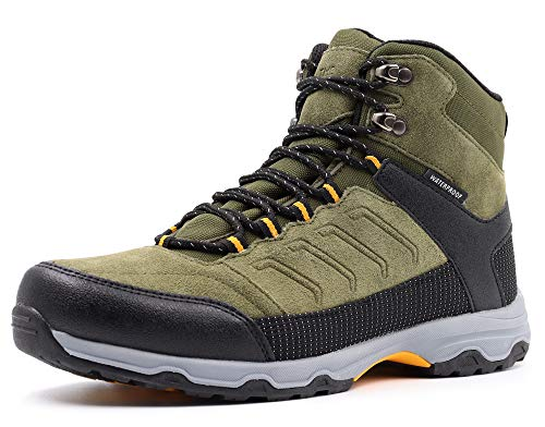Gladsome Mens Mid Waterproof Hiking Boots Suede Leather Winter Trekking Shoes Khaki 10