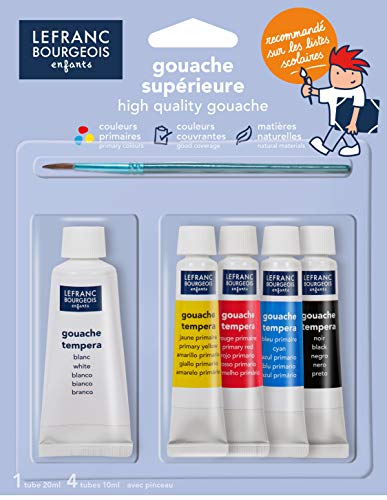 Lefranc Bourgeois - Gouache en Tubes - Blister 4x10ml + 1x20ml + 1 Pinceau