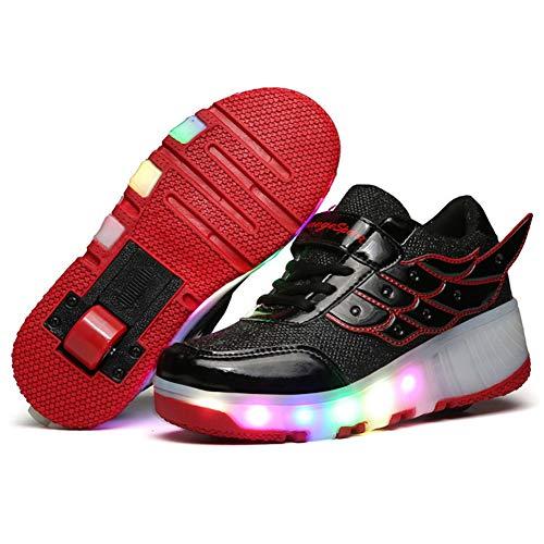 Charmstep Kinder Junge Mädchen LED Farbwechsel Lichter Blinken Schuhe mit Rollen Skateboard Rollschuhe Sport Outdoorschuhe Gymnastikschuhe Flügel-Art Sneaker,Red,28EU