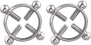 joyce555 Fake Round Nipple Ring Shield Body No-Piercing Jewelry Adjustable Titanium Steel Silver