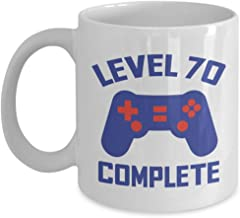 Level 70 Complete Mug - 70th Birthday Gift For Video Gamer - 70 Years Old Gifts For Him - Funny Present Idea For Husband Son Brother