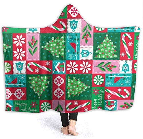 Holiday Christmas Patchwork Warm Throw Manta para Mujer Sofá Manta de sofá Manta de Cama de Invierno ligera-50x60 in