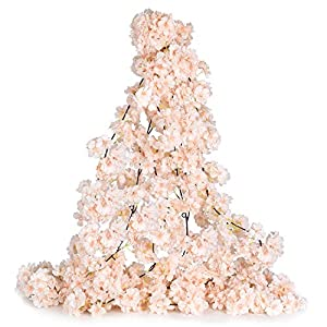 DearHouse 2 Pack Artificial Cherry Blossom Garland Hanging Vine Faux Cherry Blossom Flowers Garland for Home Garden Wedding Party Decor,Champagne