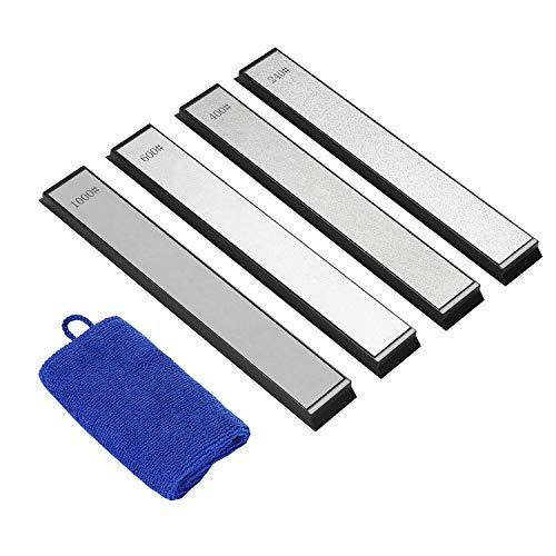 IMAGE Schleifstein Set 4 Stück Diamant Abziehstein mit Körnung 240/400/600/1000 Wetzstein Messerschärfer Zubehör für Küche