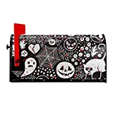 Tengyiyi Collage Magnetic Mailbox Cover, Ghost Skull Cat Spider Monster Mail Box Post Decorative Sticker Makeover Design Home