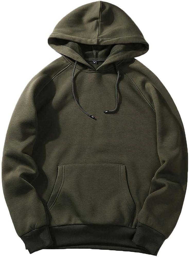 Aayomet Mens Hoodies Autumn Casual Solid Hip Hop Loose Fit Blend Fleece Long Sleeve Hoodies Tops Blouse