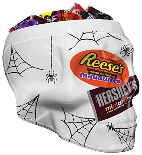 HERSHEYS Halloween Chocolate Candy Variety Mix, Addams Family Foils in Skull Bowl, Halloween Decorations, (HERSHEYS and REESES) 37 oz