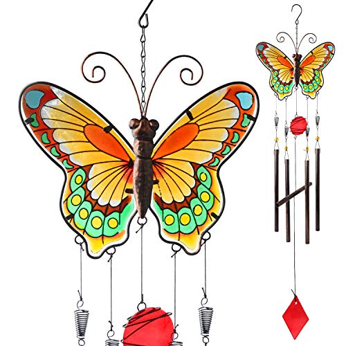 JOBOSI Butterfly Wind Chimes, Garden Decor, Beautiful Sound Wind Chime, Chime Outdoor, Garden Gifts, Butterfly Gifts, Length 37.5 inch, Width 9.75 inch, Big Butterfly Wind Chime