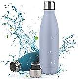 Nasharia Vakuum Isolierte Trinkflasche Edelstahl,Pulverlackierung Kratzfestigkeit Auslaufsicher BPA frei Wasserflasche-500/750ml Thermosflasche für Sport,Outdoor,Reisen,Kinder,Schule,Yoga,Büro