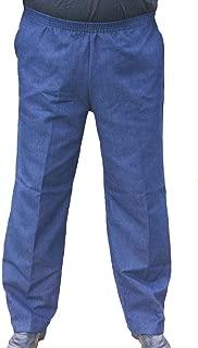 The Senior Shop Men's Full Elastic Waist, No Zipper, Buttons Loops Pull On Denim Jeans
