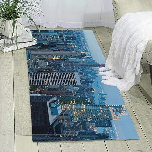 Alfombra moderna de Nueva York para sala de estar, dormitorio, pasillo, piso de oficina, suave, antideslizante, lavable, 70 x 24 pulgadas