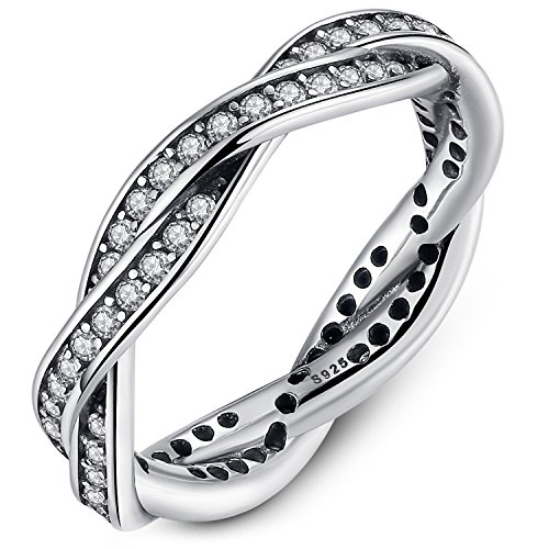 Presentski Hochzeitsringe 925 Sterling Silber Rund Weiß Kristall Zirkonia CZ Ring für Ewigkeit Frauen Damen