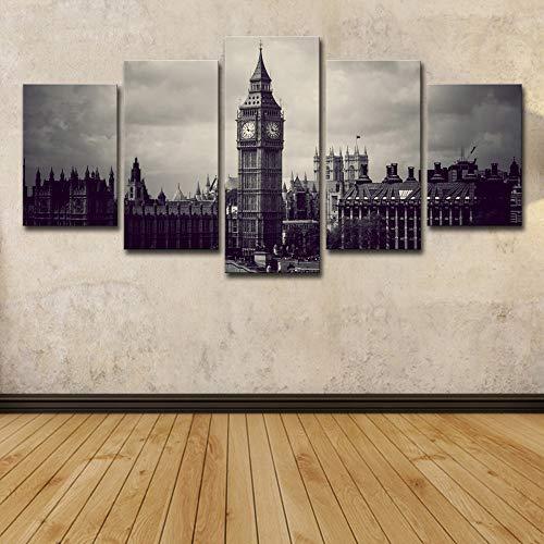WSNDGWS Decoratie canvas schilderwerk canvas met nacht stad woonkamer slaapkamer decoratie schilderij zonder fotolijst 30x40cmx2 30x60cmx2 30x80cmx1 E2