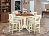 East West Furniture JAVN5-WHI-C 5-Piece Dining Room Set - Round Top Dining Table - 4 Dining Chairs...
