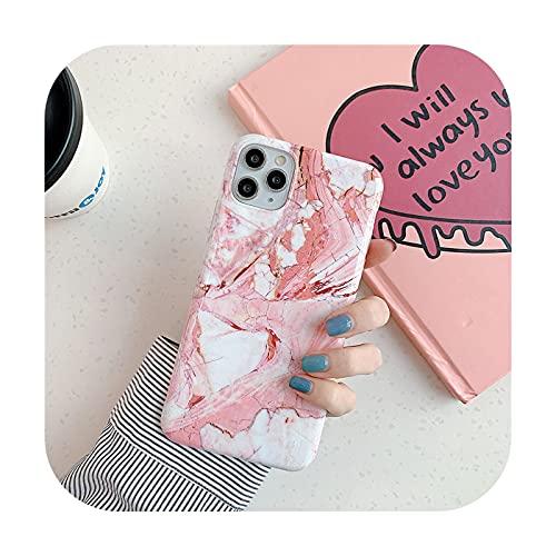 Schutzhülle für iPhone 11 Pro Max X XS Max XR 7 8 Plus SE (luxuriös, klassisch, glänzend, Granit-Marmor), stoßfest, aus Silikon, Pink