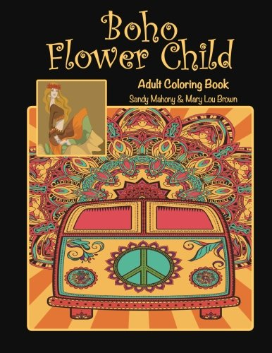 Boho Flower Child Adult Coloring Book