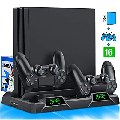 PS4 Stand Cooling Fan for PS4 Slim / PS4 Pro/Playstation 4, PS4 Pro Stand Vertical Stand Cooler with Dual Controller Charge Station & 16 Game Storage by HUIMEOW