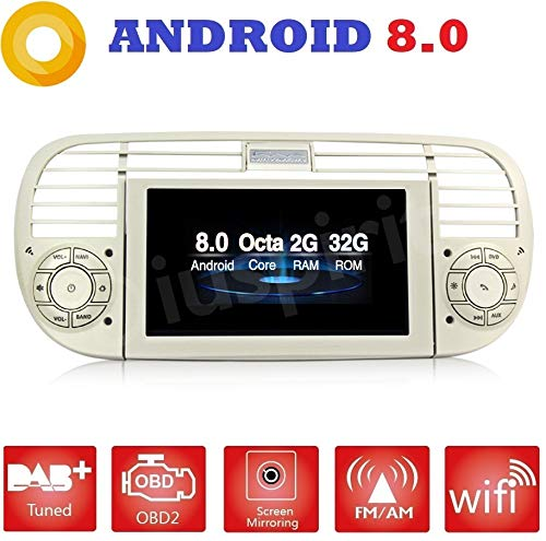 ANDROID 8.0 PX5 OCTA-CORE 2GB-RAM 32GB-ROM GPS DVD USB SD WI-FI Bluetooth MirrorLink autoradio navigatore Fiat 500 / Fiat Abarth 500 2007 2008 2009 2010 2011 2012 2013 2014 2015 colore grigio