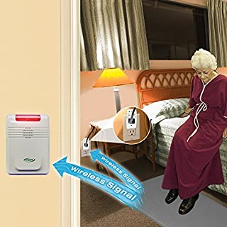 Smart Caregiver Light Outlet with Cordless Grey Floor Mat and Cordless Alarm - Turns on a light when they get up and alerts a caregiver in another room!