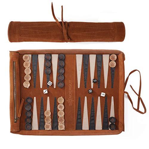 Sondergut - Backgammon - Backgammon in vera pelle - Viaggio Backgammon Deluxe - Gioco avvolgente in vera pelle - Include mattoncini e dadi in legno