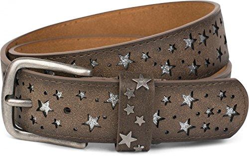 styleBREAKER Gürtel mit Sterne Cutout und glitzernden kleinen Pailletten, Glitzergürtel, Damen 03010072, Farbe:Dunkelbraun;Größe:90cm