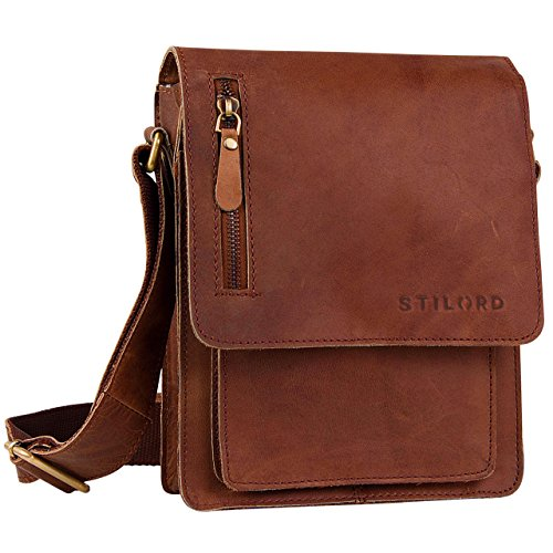 STILORD Leather Shoulder Bag Small for Men and Women/Cross Body Bag/Satchel/for 9.7 iPads/Genuine Buffalo-Leather Brown
