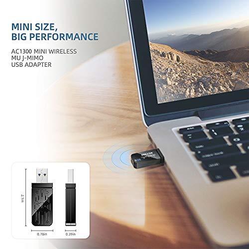 Wifi Adapter, WLAN Stick, 1300Mbit/s mit Built-in 2dBi Antenna, Dualband (5G/867Mbps + 2.4G/400Mbps) Mini Größe Adapter, 802.11 a/b/g/n/ac Wireless Standards, für Windows 10/8.1/8/7/XP, Mac OS