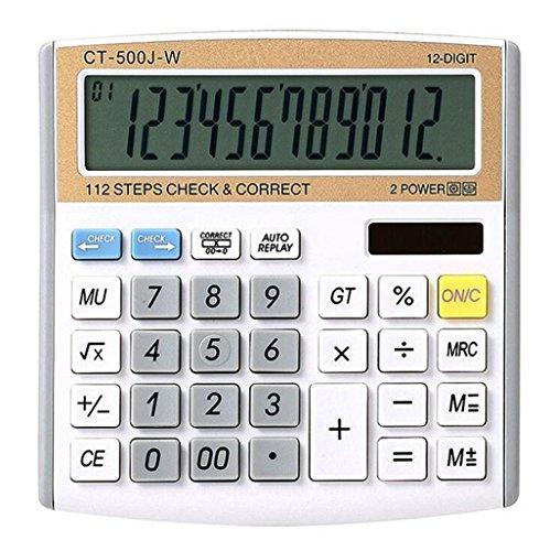 Zonnerekenmachine, 12-cijferige digitale elektronische rekenmachine, bureaubladrekenmachine voor kantoor/school/winkel
