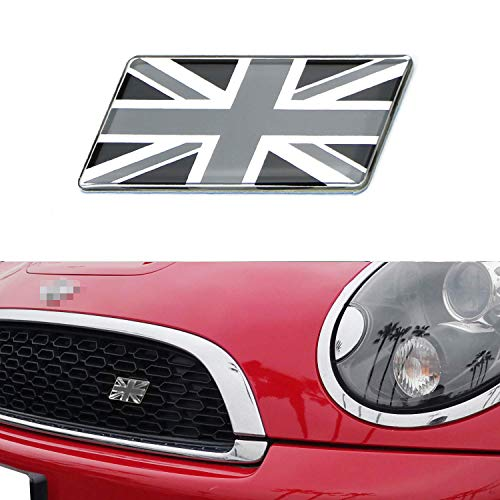 iJDMTOY Black/White Union Jack Flag Emblem Badge with L Shaped Mounting Bracket Fit Car Front Grille Compatible With Britain Vehicles such as MINI, Jaguar, Land Rover, etc