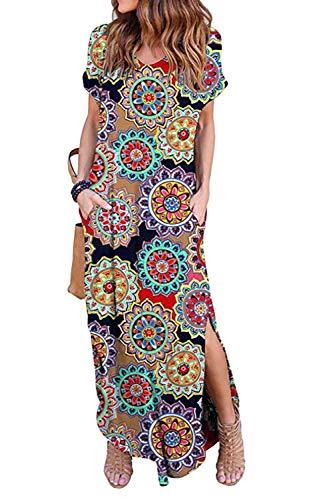 Vestidos Mujer Casual Playa Largos Verano Floral Vestido Boho Hendidura Falda Larga Maxi Vestido Playeros Monofloral y L