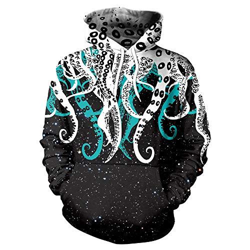 Sudadera con Capucha Unisex 3D de Forro Polar con Bolsillo de Canguro Pulpo para Hombre Adolescentes Sweatshirt Hombre Mujer Sudadera con Capucha Casual Manga Larga Pullover