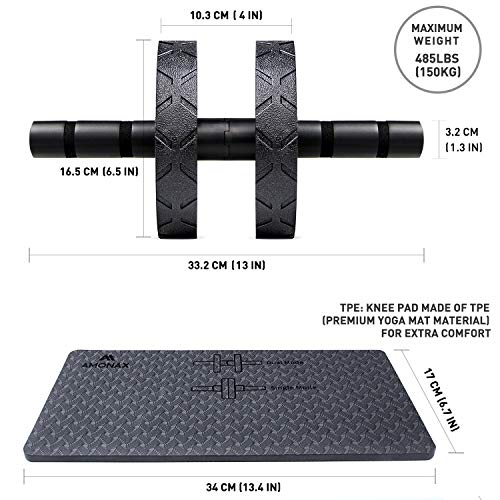 Amonax - Rullo convertibile per addominali e addominali, con ampio tappetino per ginocchio per esercizi di rotolamento, doppia ruota con doppia modalità di allenamento fitness in palestra o a casa