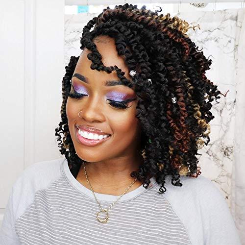 Tiana Passion Twist Hair 10 inch Pre-twisted Passion Twist Hair 7 Packs Ombre Braids Crochet Hair Pre-looped Short Hair Pre-twisted Spring Twist Hair Braids Bomb Twist Hair Extensions (10'7Pcs, T27)