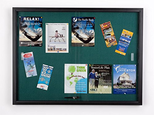 4 x 3 Foot Teal Fabric Tack Board for Wall Mount Use, Locking Sliding Glass Door, 48 x 36 Inch Enclosed Bulletin Board for Indoor Use - Black Aluminum with Teal Fabric Photo #4