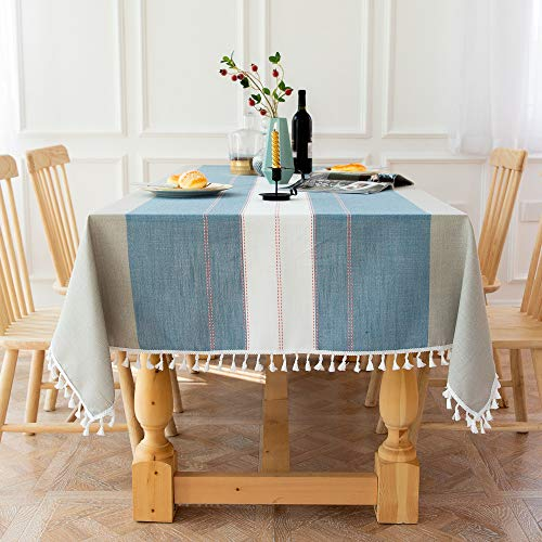 Stitching Striped Cotton And Linen Tablecloth, Suitable For Home, Restaurant, Hotel, Picnic Table Runner