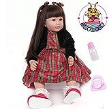 ANTBOAT Poupée Reborn bébé 60cm 24 Pouces Doux Vinyle de Silicone Reborn Fille Toddler avec Cheveux Longs Bebe Reborn Fille Yeux Ouvert Nouveau-né